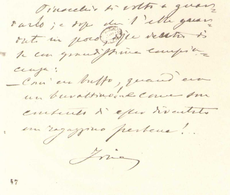 Manoscritto di Carlo Collodi